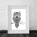 """A4 Black & White Print """"Owl"""" Unframed"""