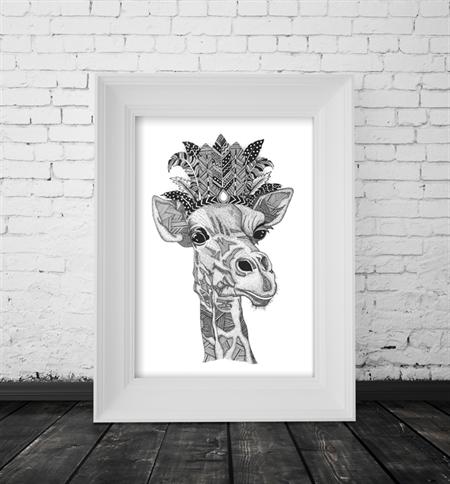 "A4 Black & White Print ""George the Giraffe"" Unframed"