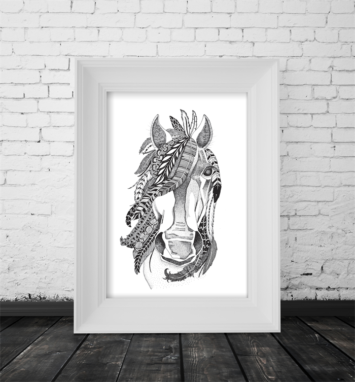 A4 black brumby unframed