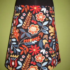 Skirt in Autumn Colours with Bird & Bamboo Stretch Band