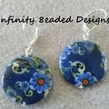 Blue Flower Shell Disc Earrings