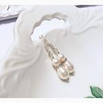 Wedding bridal bridesmaid crystal and Swarovski pearl earrings teardrop 1 pair