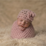 Newborn Mohair and Silk Hat with Flower / Newborn Photography Prop / Blush Pink