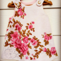 Pretty vintage linen pinafore and matching bag, size 2, one of a kind