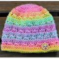 Crochet Baby Beanie in Pastel Rainbow shades, 0-3 mths, 3-6 mths or 6-12 months