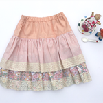 Pink floral strip and lace tiered Twirly Skirt - Size 5