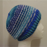 Hand-Knit, Child, Wool, Blue / Pale Grey, Slouchy Beanie Hat