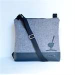 Large size 'Jodi' bag. Black vinyl, grey fabric front with black wren feature.