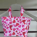 Mini pink heart tote bag