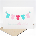 Baby Girl Card - Baby Girl All In Ones on a Line - BBYGRL035