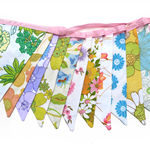 Vintage Retro Pretty Multi-Colour Floral Bunting. Garden Party, Home Decoration