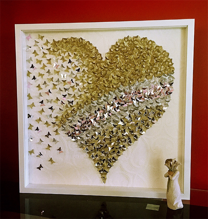 3D Gold butterfly Heart wall art | heart frame | Paper ...