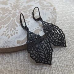 Matt Black Paisley Leaf Filligree Earrings