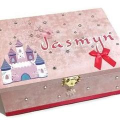 Princess Castle Keepsake Trinket Treasure Jewellery Memory Wooden Box