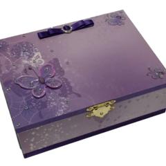 Purple Butterfly Keepsake Trinket Treasure Jewellery Memory Wooden Box
