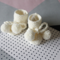 Hand knitted Pom Pom Booties   NB to 12M   Made to Order   Custom Colour