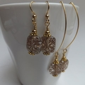 Vintage Floral and Gold Earrings - short or long hooks
