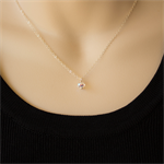 Sterling Silver Chain Necklace - Swarovski Crystal - bridal or bridesmaid