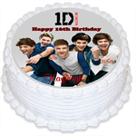 1D One Direction Personalised Round Edible Cake Topper - PRE-CUT