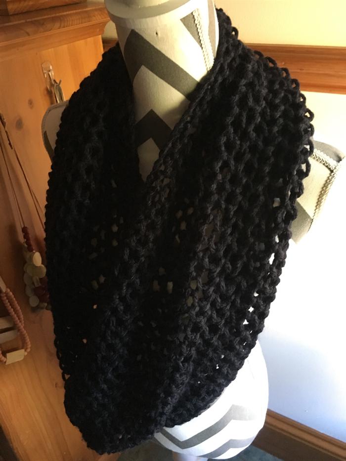 Black infinity/snood knit scarf MARIAP madeit.com.au