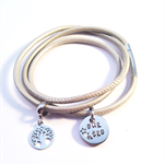 Personalised Hand Stamped Pearl Leather Triple Wrap magnetic clasp Bracelet