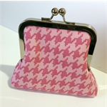 Pink Houndstooth Coin Purse Kiss Lock Frame