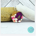 Pink & White Cherry Blossoms Japanese Chiyogami  Wood Hexagon Necklace