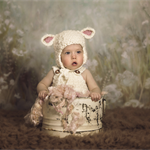 Sitter Photography Prop Set / Unisex Prop / Cream Overalls and Sheep Hat Set