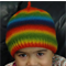 Hand-Knit, 2 - 5 yr Child, Wool, Rainbow, Beanie Hat