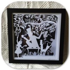 """""""Alice and Hatter""""- Shadow Box Paper Cut Art"""