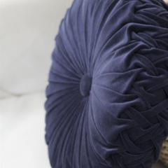 Dusty Blue Velvet Vintage Style round cushion-FREE POST