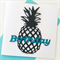 Pineapple black teal aqua birthday wishes him card