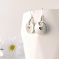 RESINATING WORDS - earrings hand stamped with a cute love heart