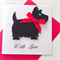 Black scottish terrier dog red ribbon bow with love birthday her him card
