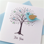 Blank for you him her tree bird any occasion sympathy thinking of you card