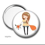 Pocket mirror, purse mirror,  Fox Girl pocket mirror.