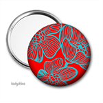 Pocket mirror, purse mirror, bright floral pocket mirror.