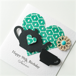 Green flocked paper 90th birthday custom make any age teapot teacup her card