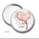 Personalised Pocket mirror, purse mirror Pink Tree