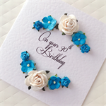 30th birthday paper roses blue white ANY AGE custom make her female card