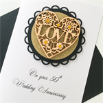 XLARGE CUSTOM Anniversary love lasercut wooden heart black gold  card
