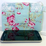 Wristlet / Clutch - Duck Egg Blue and Roses - Suit Samsung Galaxy / iPhone / HTC