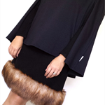 Women's A-Line Fur-Trimmed Skirt Size M