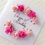 21st birthday paper roses pink fuchsia ANY AGE custom make her female card