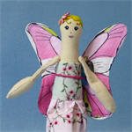 Miniature Butterfly Cloth Doll with Pink and Green Rose Dress