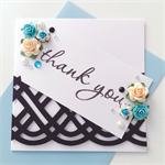 Thank you celtic knot paper roses blue tag card