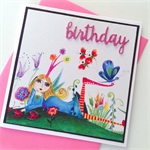 Vintage sassy fairy crown butterfly birthday wishes pink glitter card
