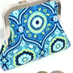 Blue Eyes Geometric Coin Purse Kiss Lock Frame