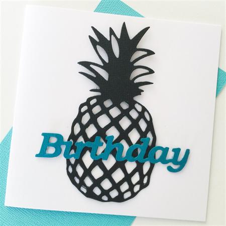 Pineapple black teal aqua birthday wishes him card