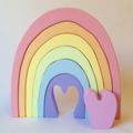 Hand Printed wooden Heart rainbow PASTEL.  (7 Piece)